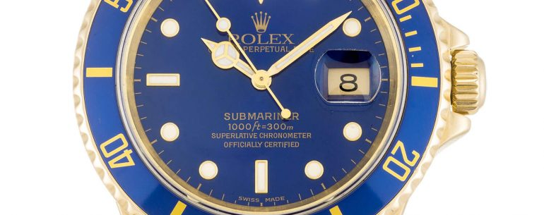 replica Rolex Submariner 18k Gold Blue dial Ceramic Bezel.