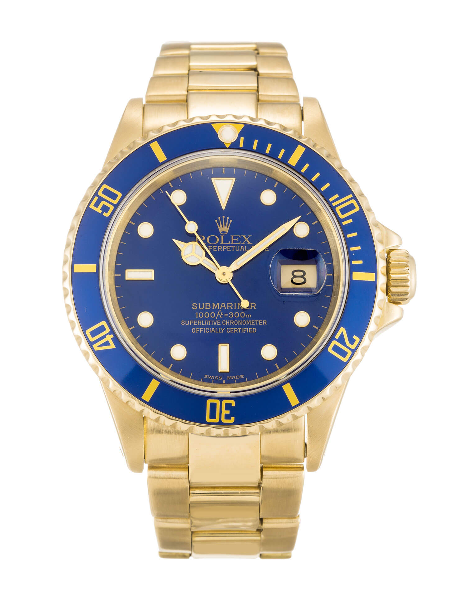 Replica Rolex Submariner 18k Gold Blue dial Ceramic Bezel