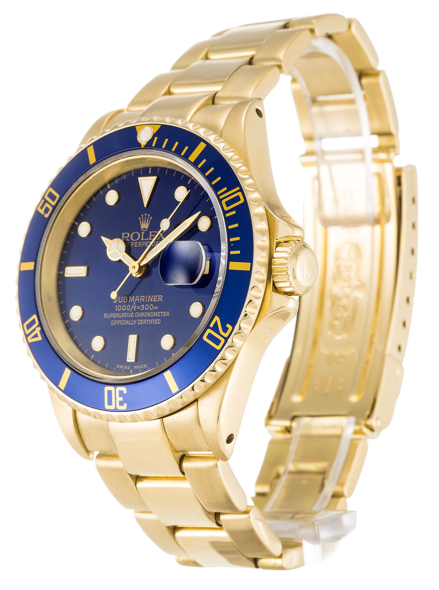Rolex Submariner 18k Gold Blue dial Ceramic Bezel